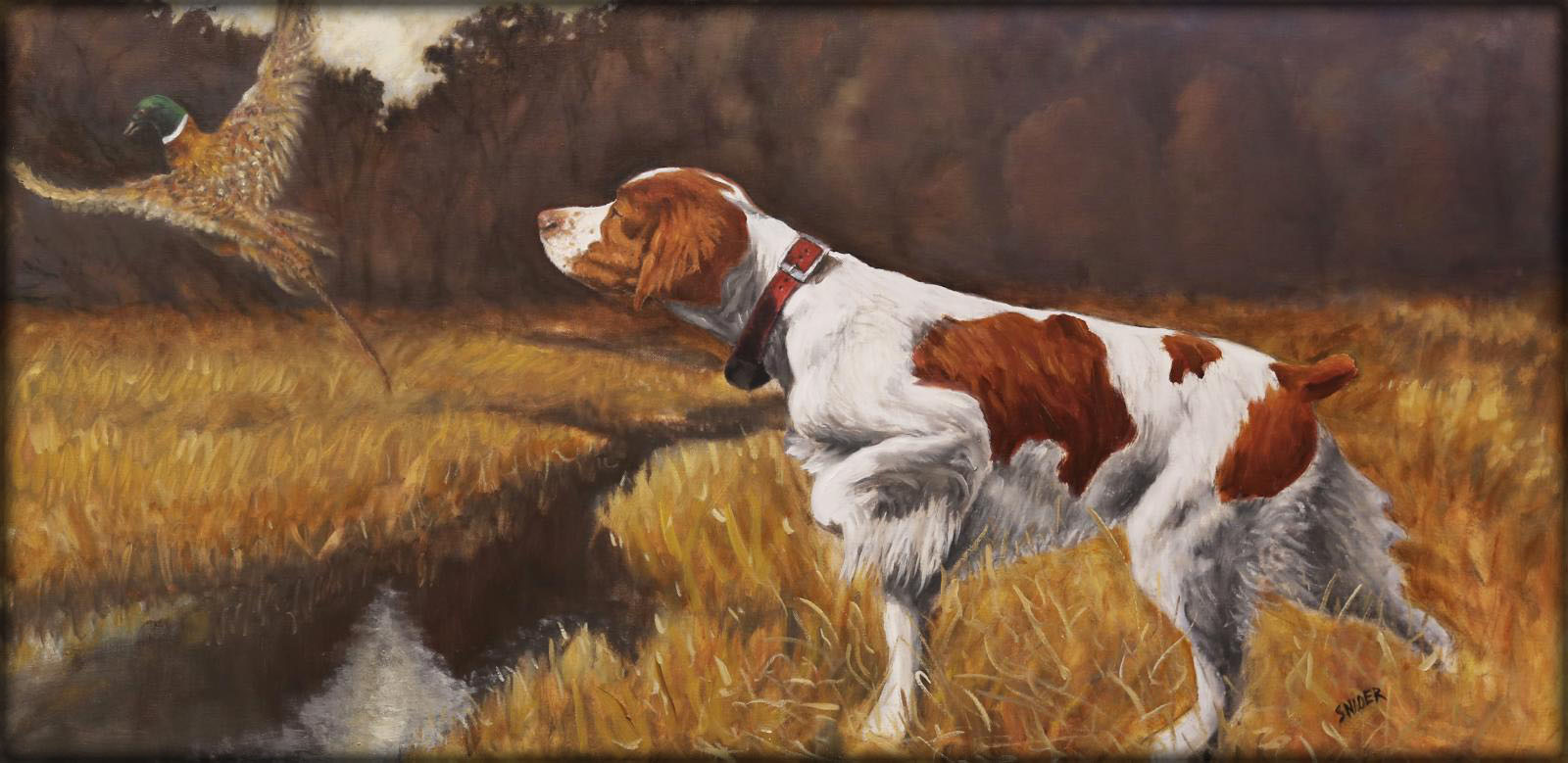 Oil portrait of Brittany on point and pheasant in flight by artist Larry Snider